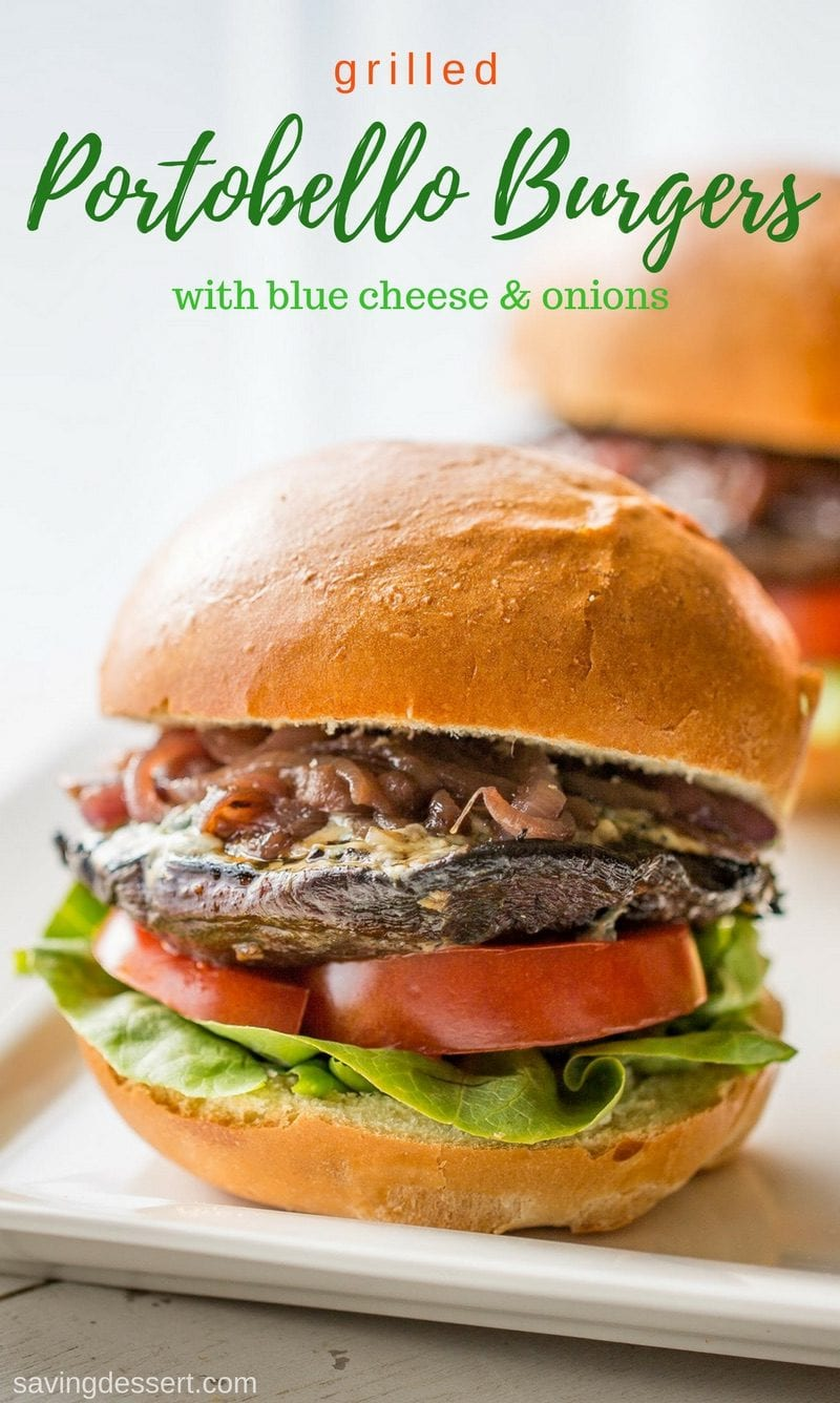 Grilled Portobello burgers with blue cheese and onions on a bun