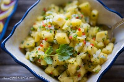 Diced fresh pineapple is combined amongst cilantro Pineapple Salsa
