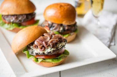 Portobello Burgers with Blue Cheese and Onions