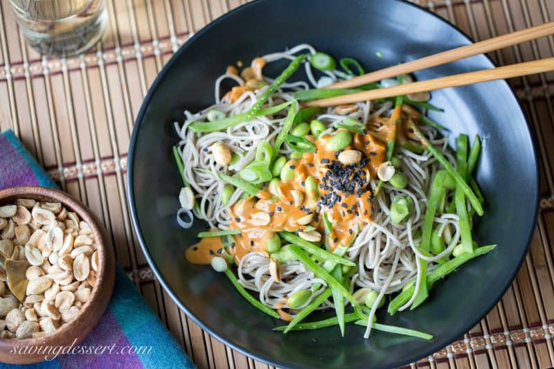 I experience blessed to accept constitute nutrient blogging in addition to photography in addition to savor it tremendously Soba Noodles alongside Edamame in addition to Spicy Peanut Sauce