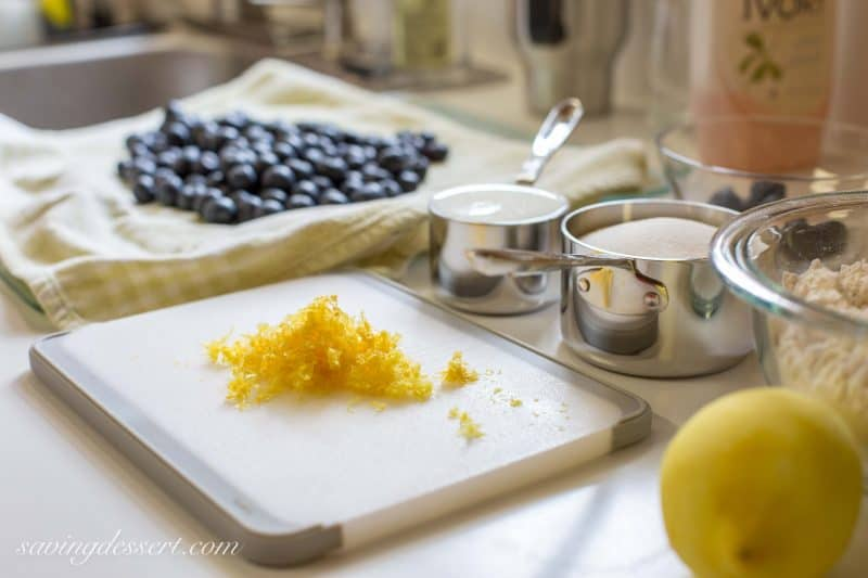 Lemon zest and fresh washed blueberries