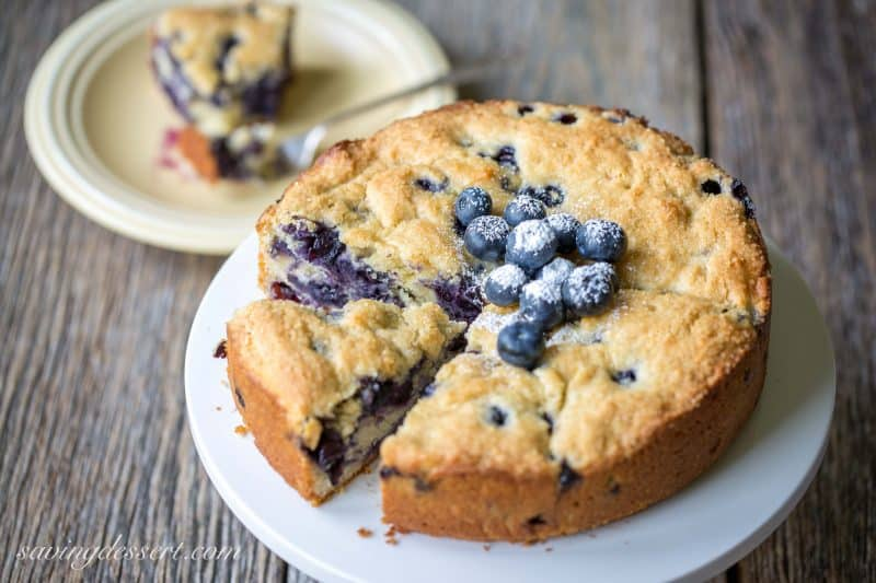 "Blueberry Breakfast Cake - a deliciously moist and lightly sweet ""coffee"" cake bursting with fresh sweet blueberries"