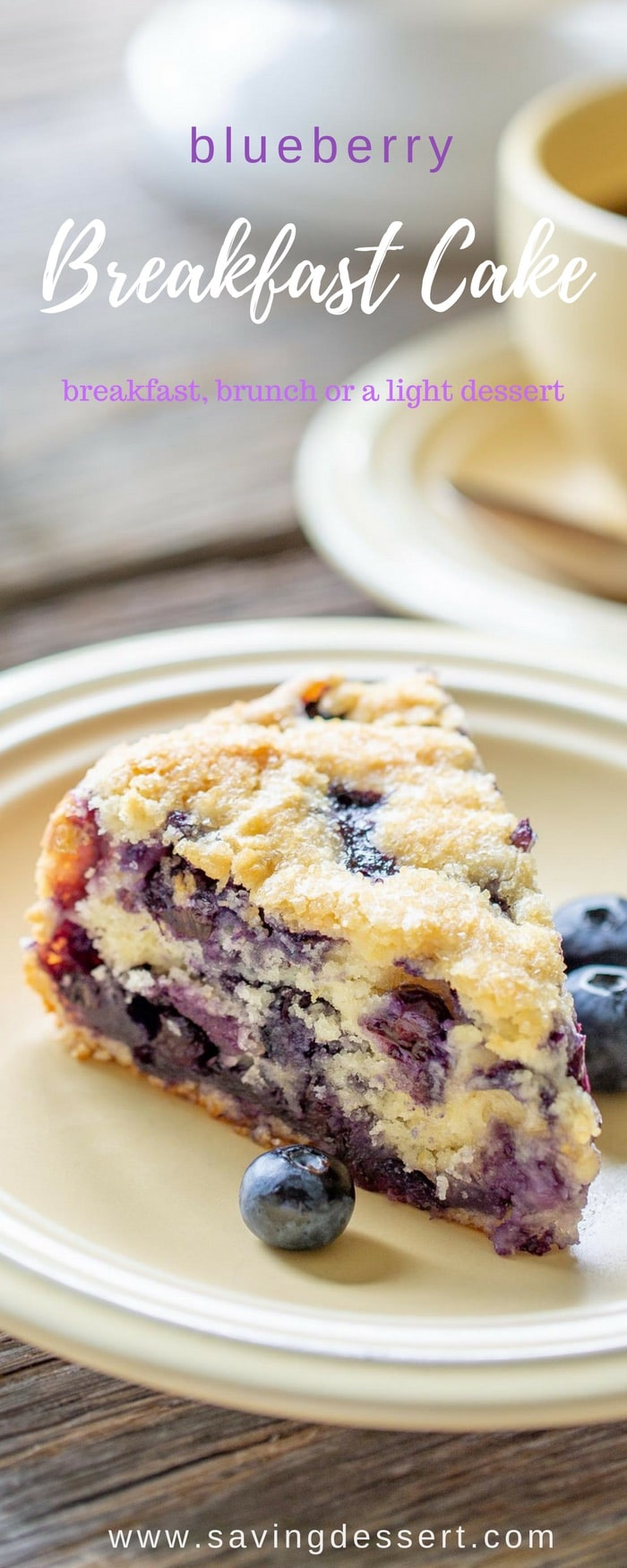 """Blueberry Breakfast Cake - perfect for breakfast, brunch or a light dessert. This luscious cake is adeliciously moist, lightly sweet """"coffee"""" cake bursting with juicy ripe blueberries. #savingroomfordessert #blueberry #breakfast #brunch #blueberrycake #brunchcake #blueberrybreakfastcake"""