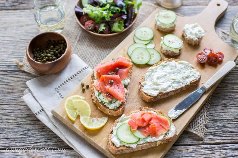 Smoked Salmon with Cucumber Cream Cheese - a wonderful easy appetizer everybody will love ~ from Saving Room for Dessert www.savingdessert.com