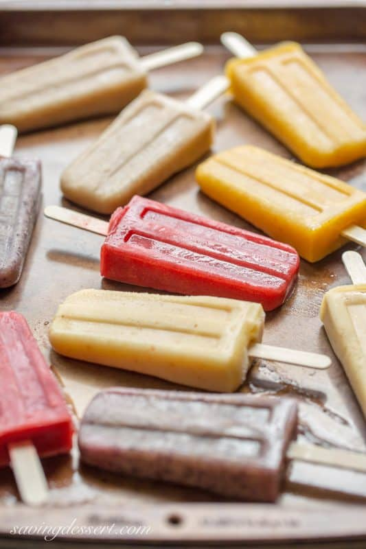 Assorted Popsicles -Lightly sweetened with dates, bananas and a drop or two of Stevia, they taste like dessert but are a very healthy snack.