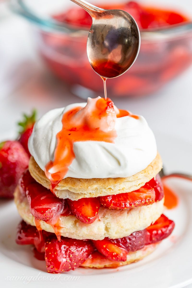 Strawberry Shortcake Scones drizzled with strawberry syrup