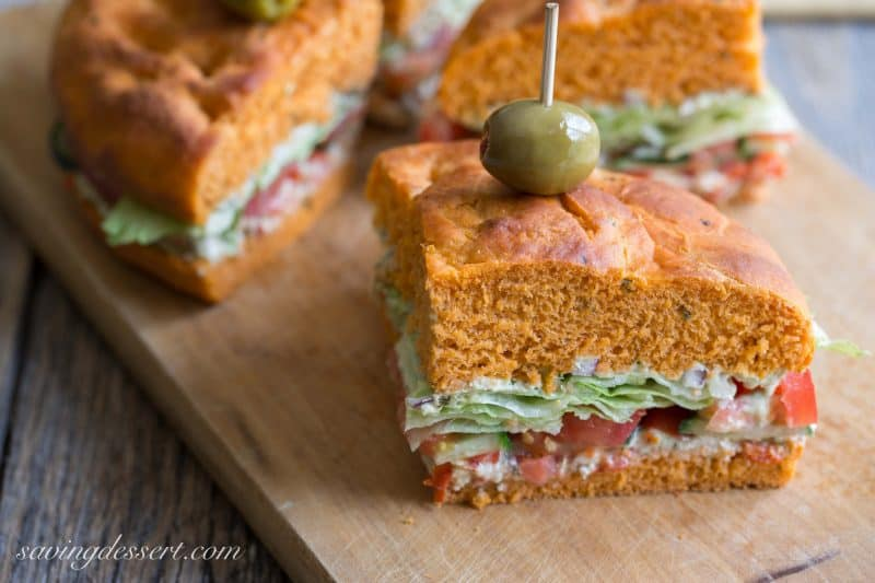Mediterranean Sandwich on Tomato Basil Focaccia ~ from Saving Room for Dessert (www.savingdessert.com)