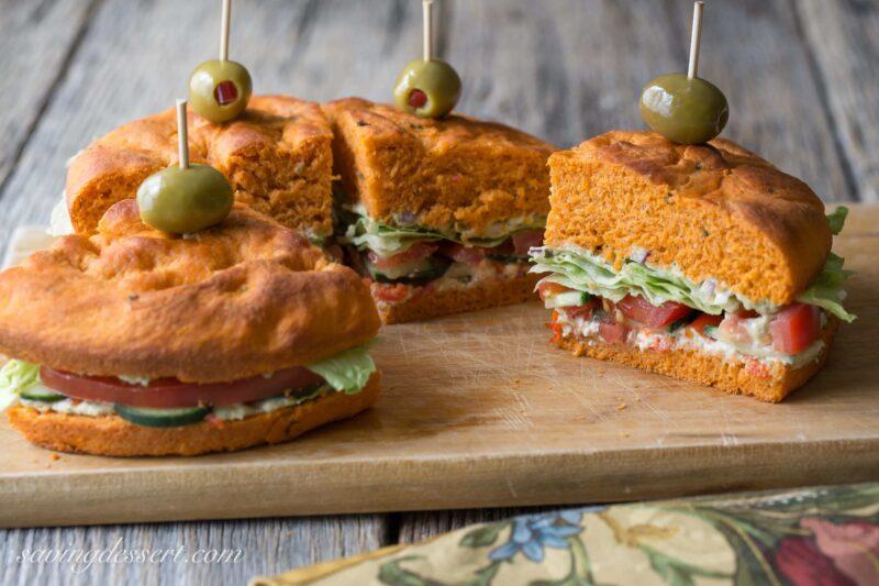 Mediterranean Sandwich on Tomato Basil Focaccia ~ from Saving Room for Dessert (www.savingdessert.com)