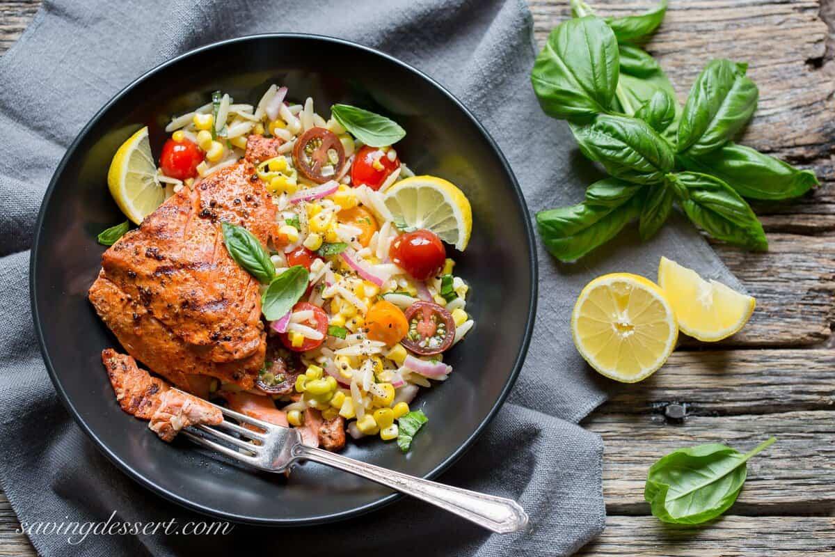 Grilled Salmon Orzo Corn Salad Saving Room For Dessert