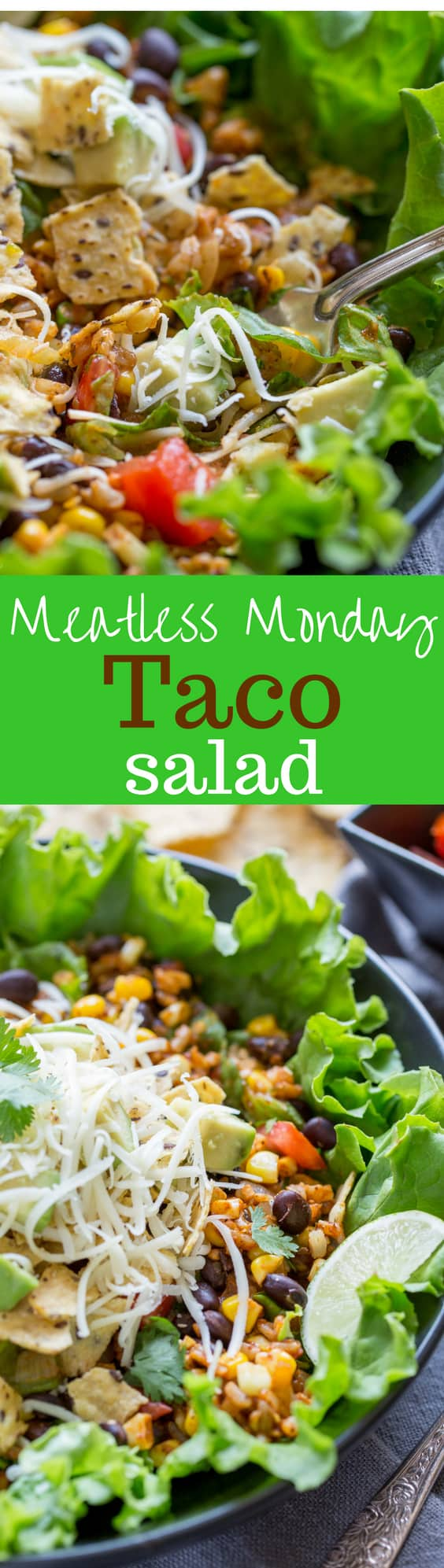 Meatless Monday Taco Salad - a deliciously spiced vegetarian salad layered with summer fresh corn and tomatoes, cheese, beans and a tasty homemade salsa  www.savingdessert.com