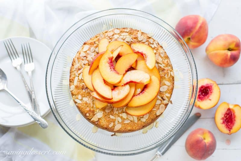 Peach & Almond Shortcake - A moist and lightly sweet cake made with almond paste for extra almond flavor.