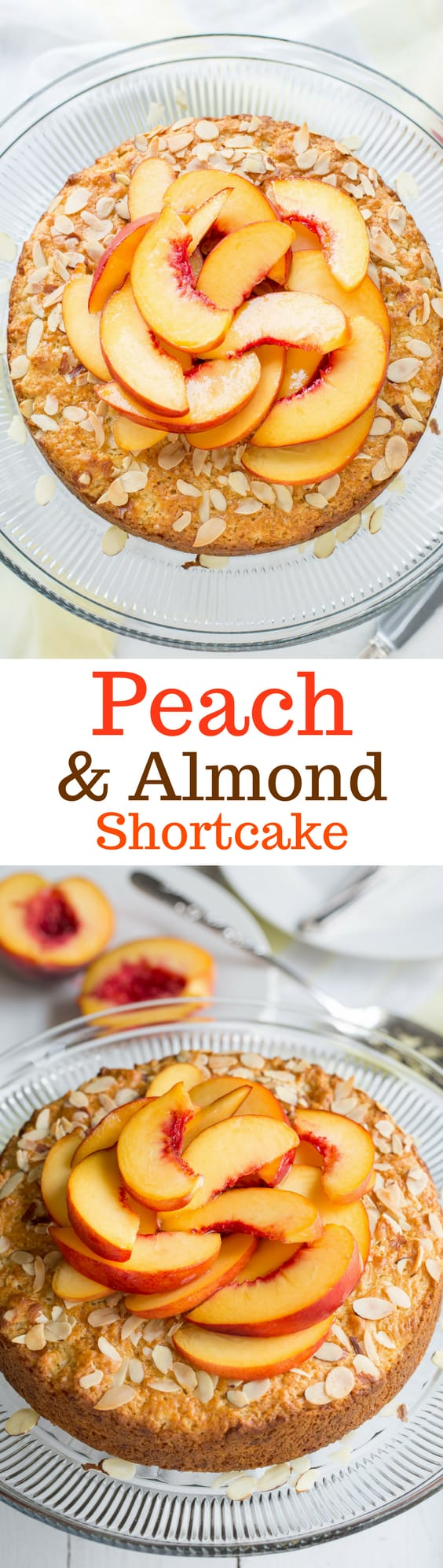 Peach & Almond Shortcake - A moist and lightly sweet cake made with almond paste for extra almond flavor. Top with sweetened whipped cream for a wonderful treat!  www.savingdessert.com