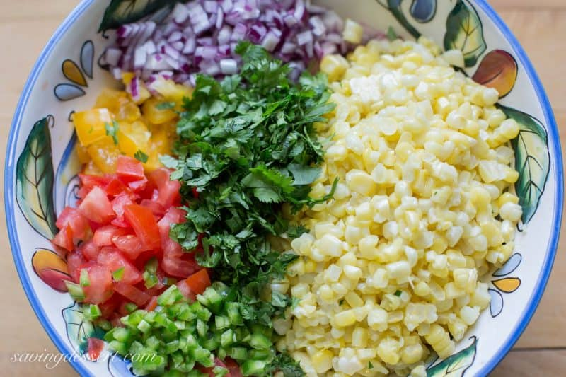 ... corn are combined with lime juice and garlic for the perfect condiment