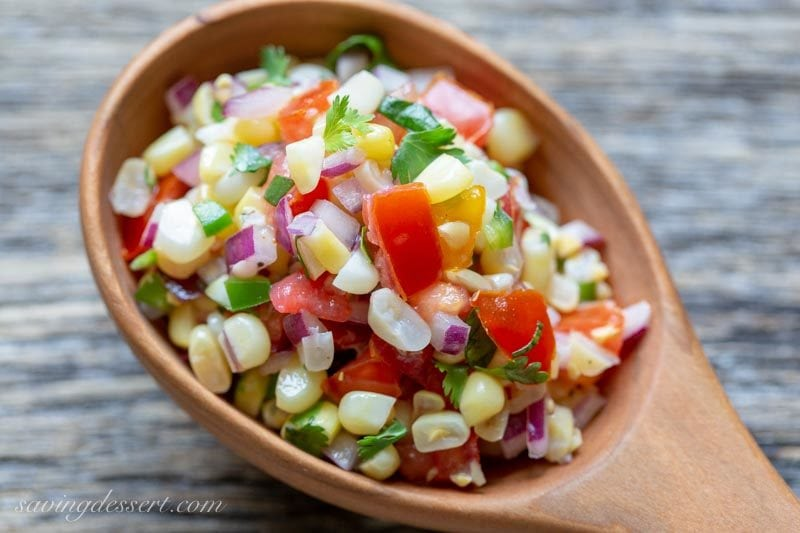 sweet corn salsa in a spoon