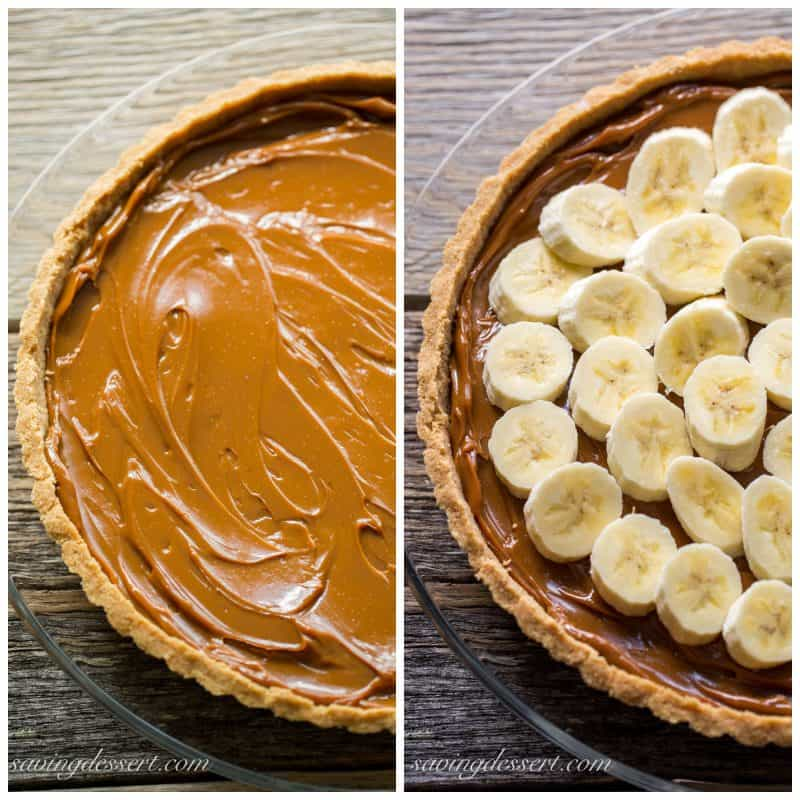 Stages of the banoffee pie - with caramel in a good crust and another photo topped with bananas