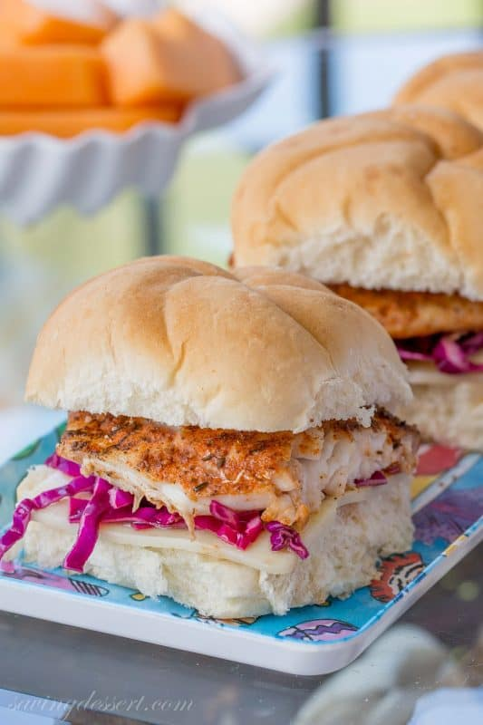 Blackened Grouper Sandwich with Purple Slaw and Swiss Cheese