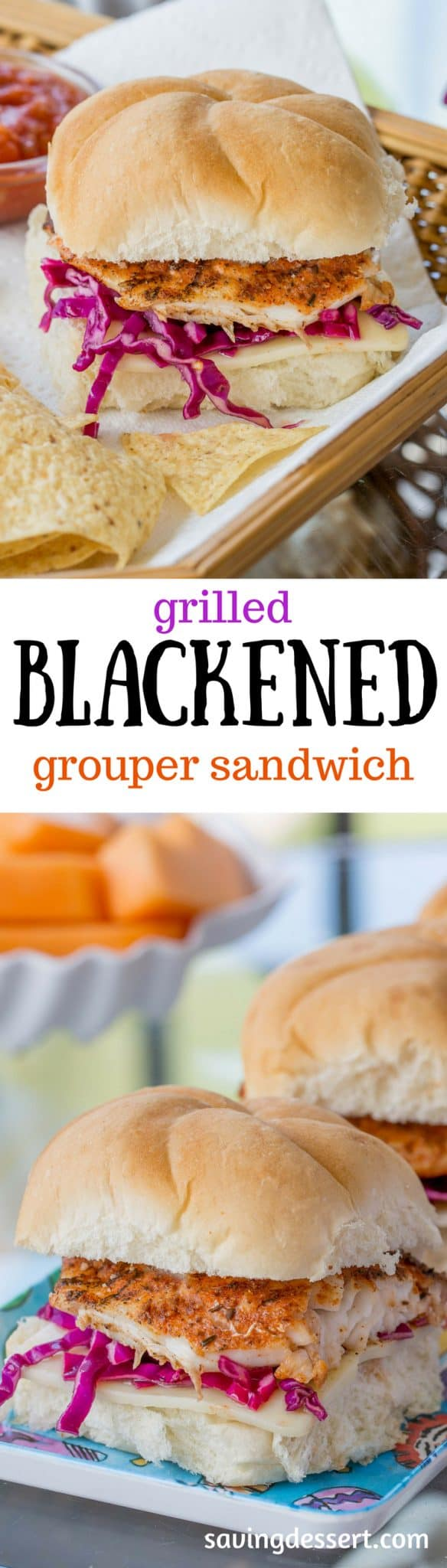 Grilled Blackened Grouper Sandwich ~ Fresh Grouper seasoned with your favorite blackened spices then grilled and served on a soft bun with a simple purple slaw and a slice of swiss cheese. An easy lunch or light dinner, ready in minutes! www.savingdessert.com