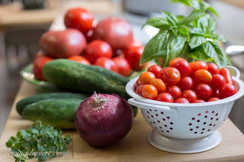 Heirloom Tomato Salad with cucumbers & onion (garden-to-table)  www.savingdessert.com