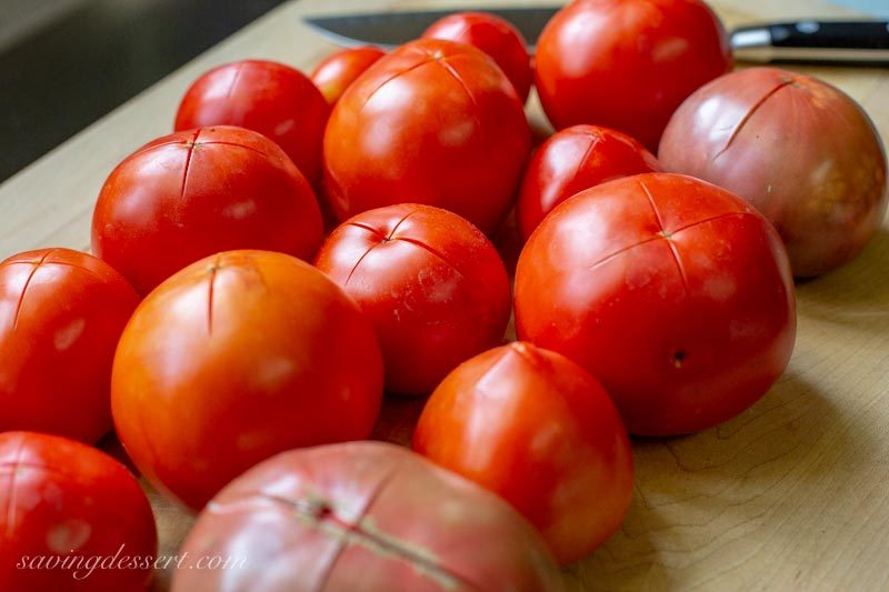 fresh tomatoes ready to parboil