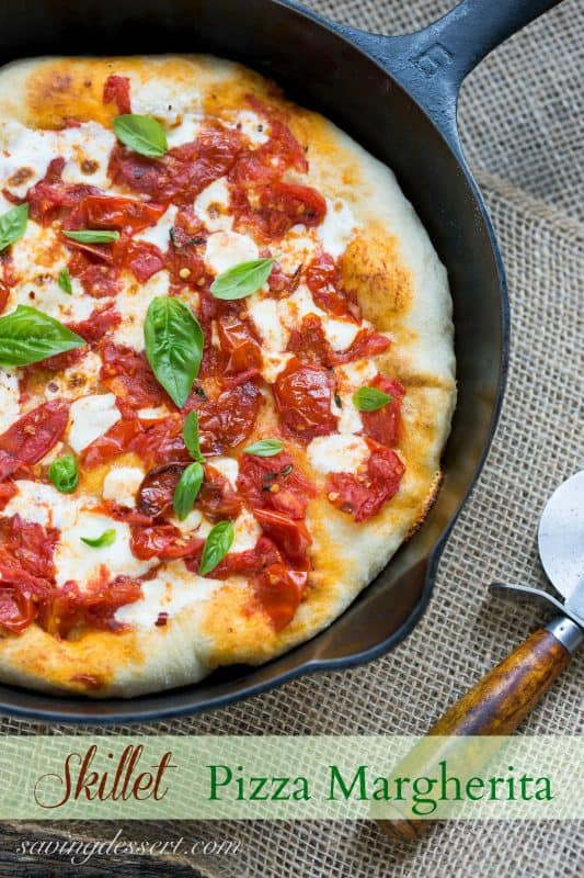 Skillet Pizza Margherita with garden fresh tomatoes and basil