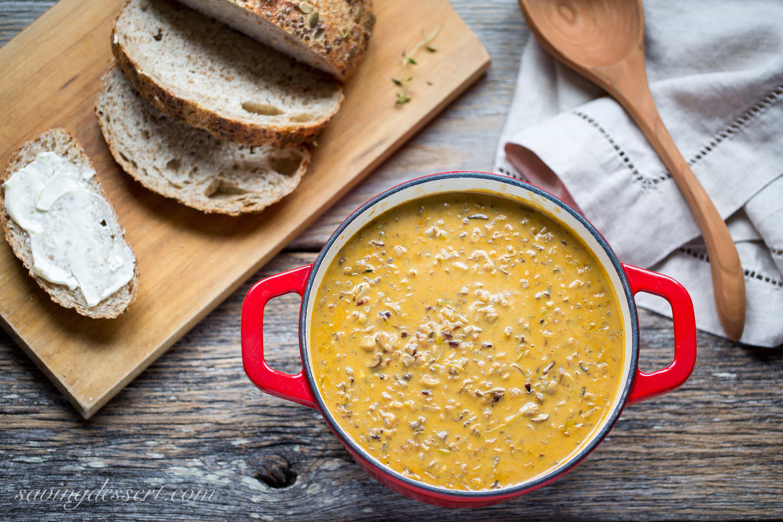 Hearty and filling ~ Wild Rice & Mushroom Soup   www.savingdessert.com