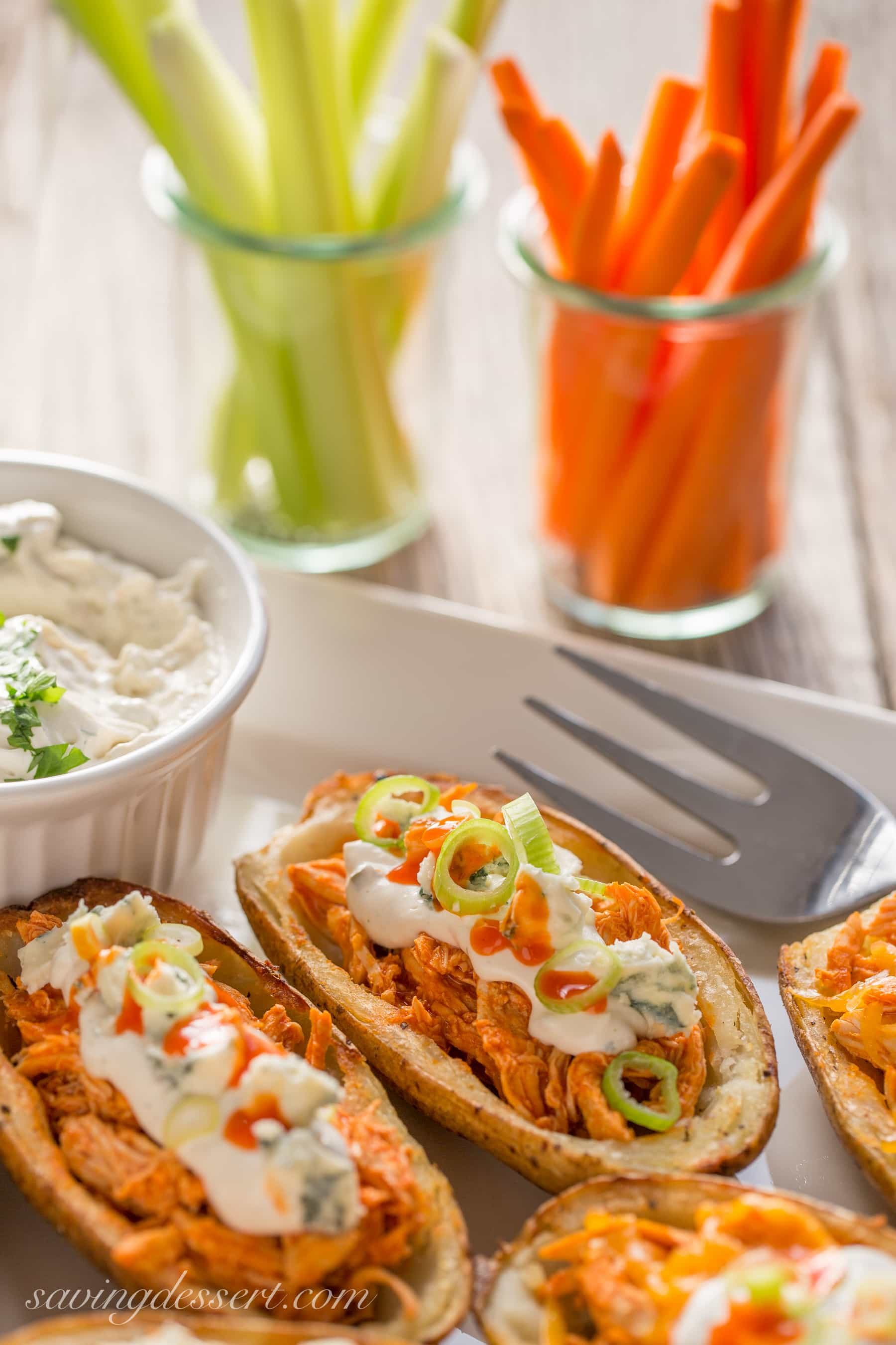 Buffalo Chicken Potato Skins with Blue Cheese Dip | www.savingdessert ...