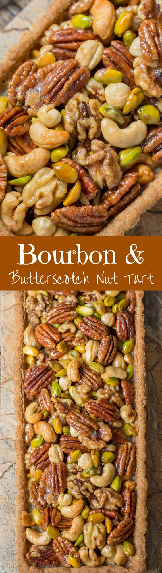Bourbon & Butterscotch Nut Tart -Assorted nuts are coated in a smooth, creamy butterscotch sauce with just a hint of bourbon then baked in a pecan shortbread crust.   www.savingdessert.com