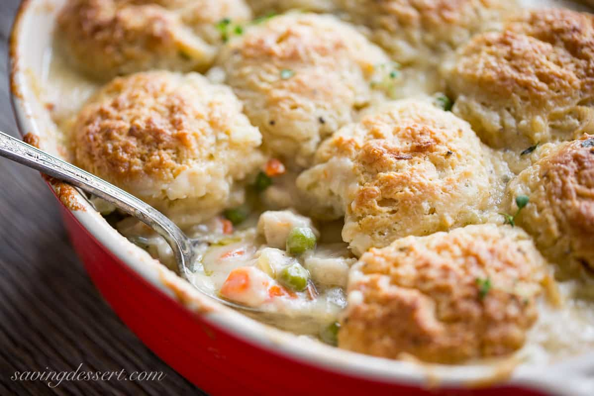 Chicken Pot Pie Casserole With Herb Biscuit Topping