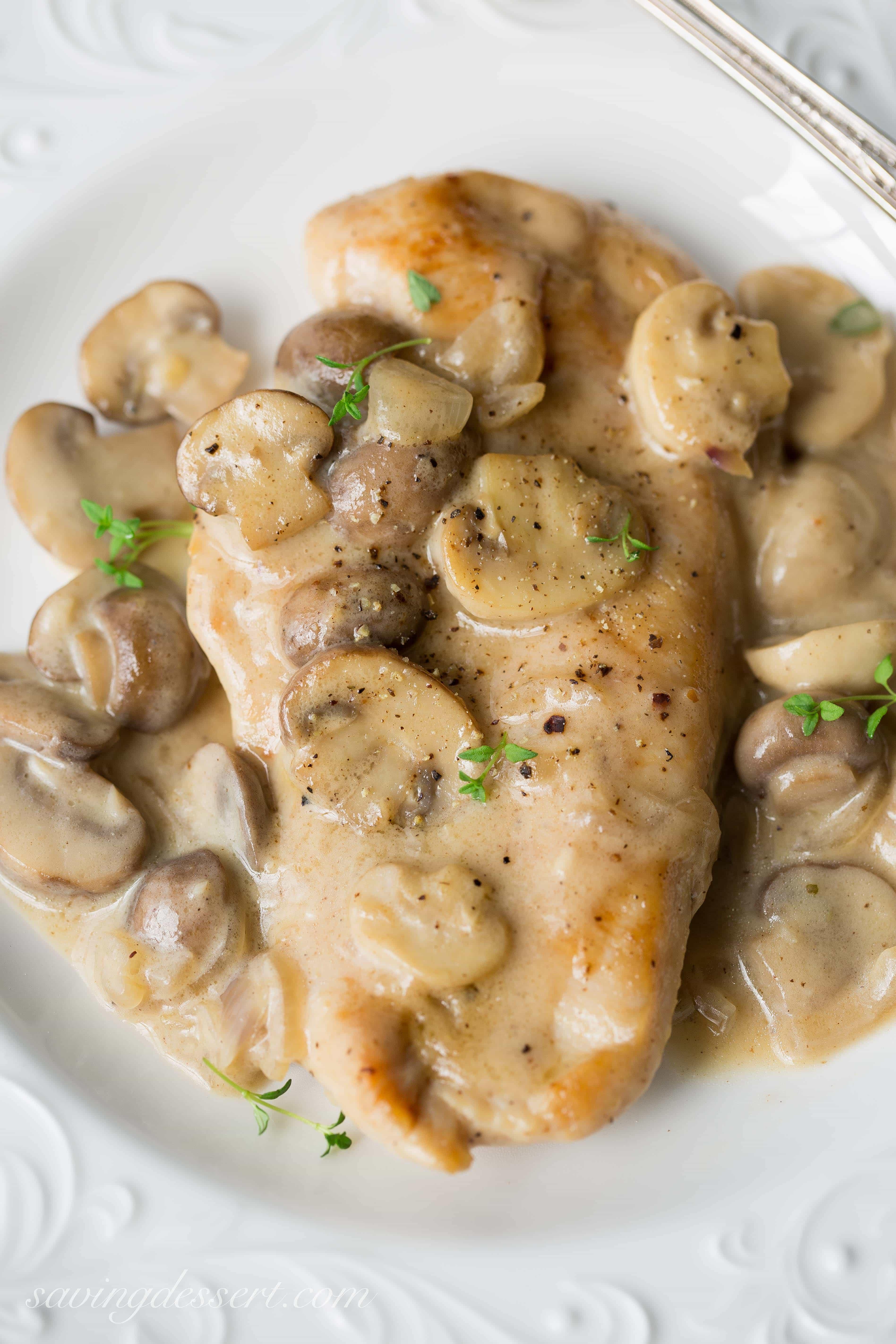 Skillet Chicken and Mushroom Wine Sauce - Saving Room for ...