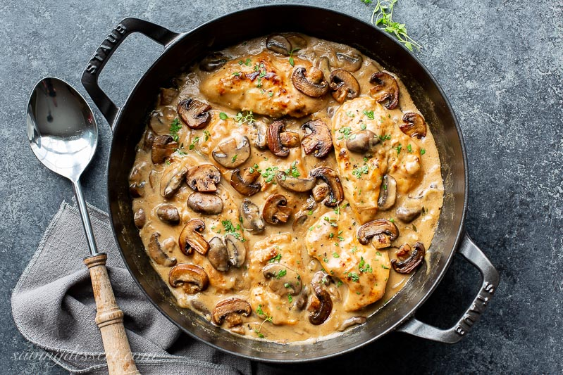 Skillet Chicken And Mushroom Wine Sauce Saving Room For Dessert