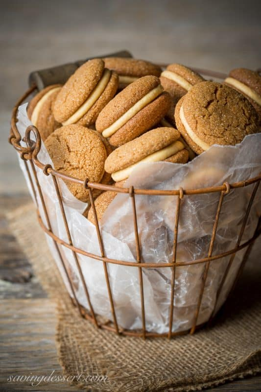 Soft Ginger Molasses Cookies with Pumpkin-Butter Buttercream