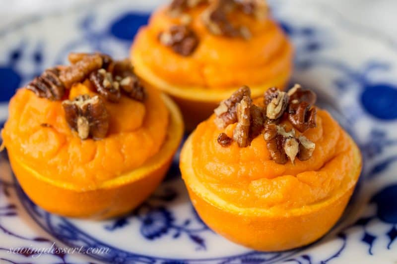 Sweet Potato Soufflé in Orange Cups with Cinnamon Pecans
