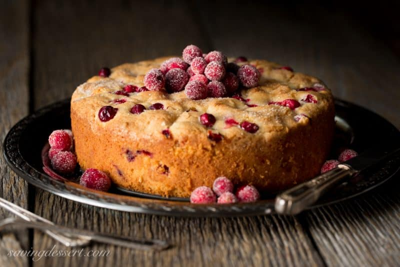 Cranberry Almond Breakfast Cake - perfect as a breakfast cake, a light dessert after lunch or an anytime snack cake.