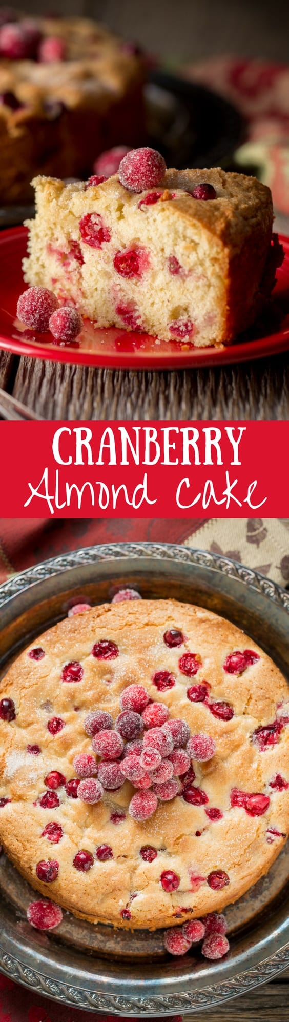 Cranberry Almond Cake ~Lightly sweet, moist and delicious, this easy treat is perfect as a breakfast (coffee) cake, a light dessert after lunch or an anytime snack cake. www.savingdessert.com #savingroomfordessert #cranberry #breakfastcake #cranberrycake #thanksgiving #christmas