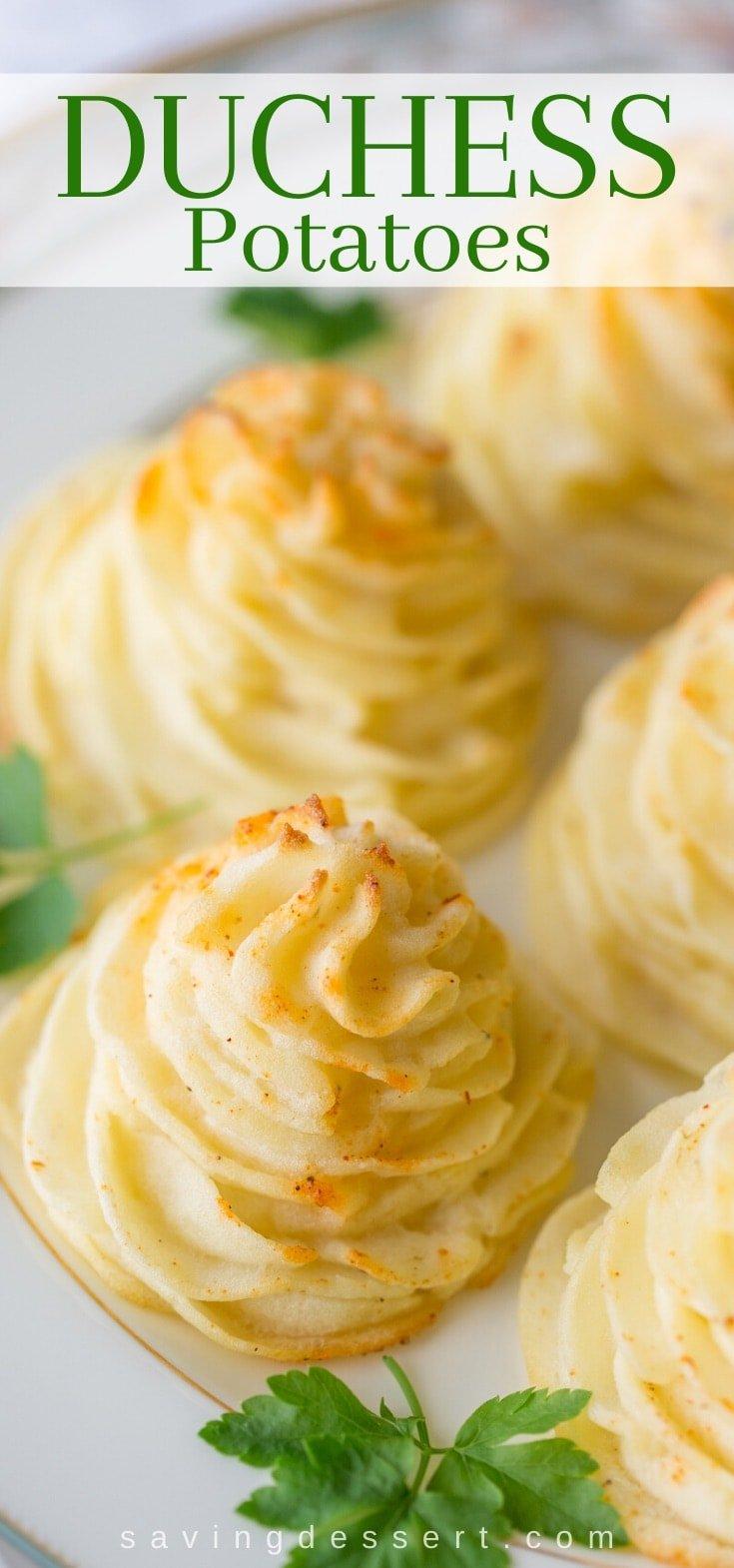 Swirly Duchess potatoes on a plate