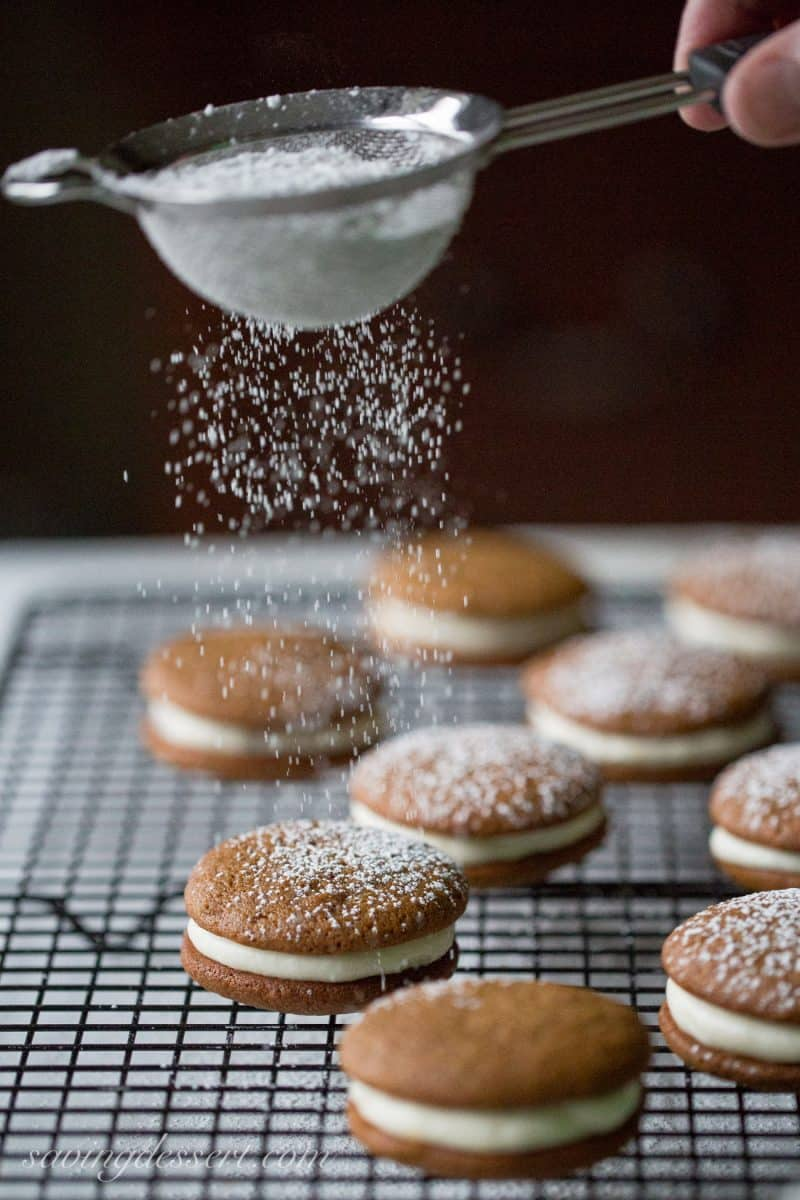 Gingerbread Whoopie Pies dusted with powdered sugar