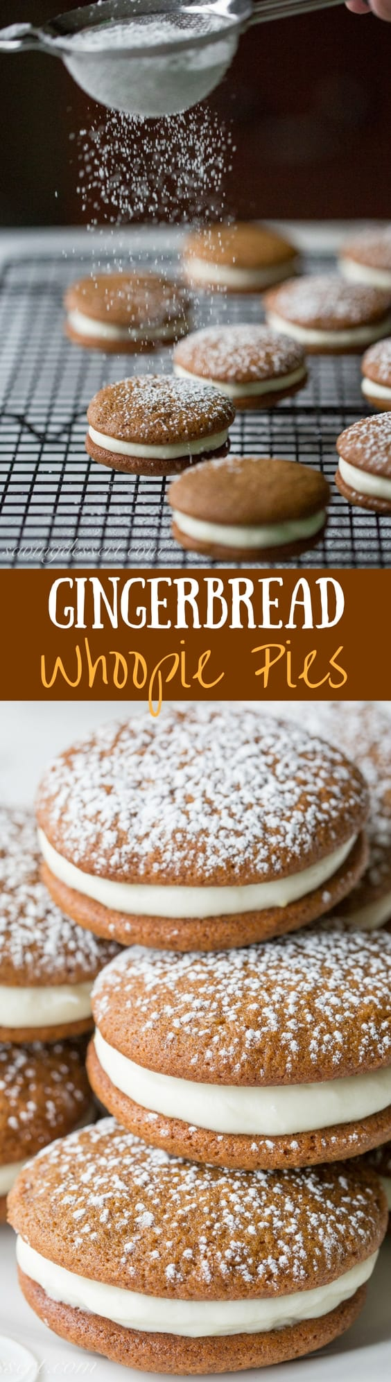 Gingerbread Whoopie Pies with Lemon Cream Cheese Filling - soft and sweet and loaded with gingerbread flavor with the perfect lemon filling! www.savingdessert.com