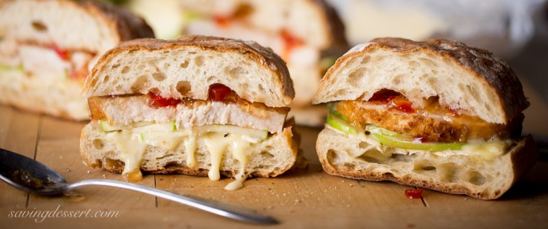 Turkey, Apple & Cheese Panini with Hot Pepper Jelly - great with leftover turkey from the holidays!  www.savingdessert.com