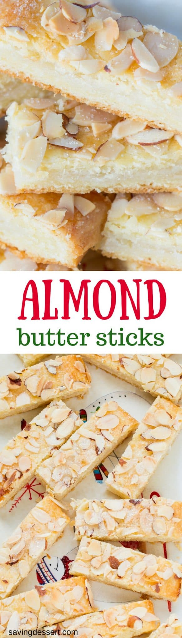 Almond Butter Sticks are a melt-in-your-mouth delicious, tender cookie made with a cream cheese dough andan almondsugar filling. www.savingdessert.com #savingroomfordessert #cookie #holidaycookie #christmascookie #almondcookie #creamcheesedough