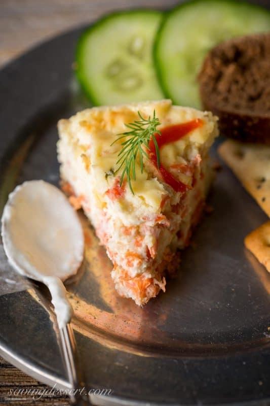 Savory Smoked Salmon Cheesecake with Horseradish-Lime Cream