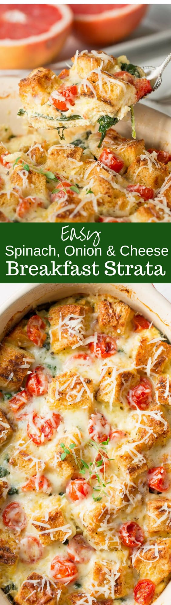 Easy Spinach, Onion & Cheese Breakfast Strata - a wonderful make ahead breakfast casserole with tons of flavor and rich Gruyere cheese.  Add bacon or sausage for your hungry family!  www.savingdessert.com