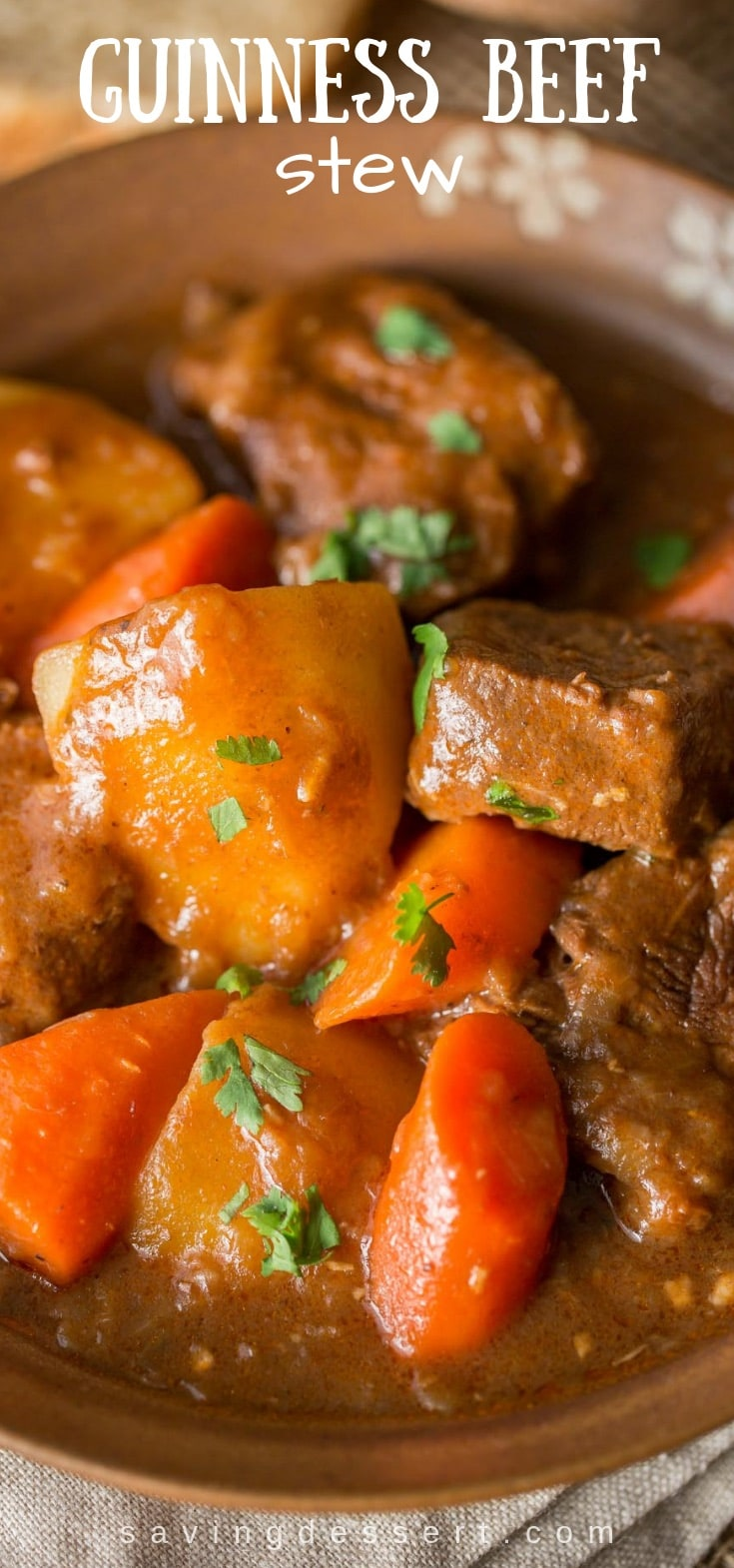 Guinness Beef Stew - Don't wait for St. Patrick's Day to enjoy this amazing stew. Tender chunks of beef are cooked, uncovered in a rich, thick and flavorful gravy with carrots and potatoes. #guinness #stew #beefstew #guinnessstew #irishstew #stpatricksdaystew #beef #dinner