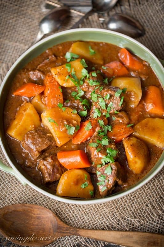 Beef Stew garnished with parsley