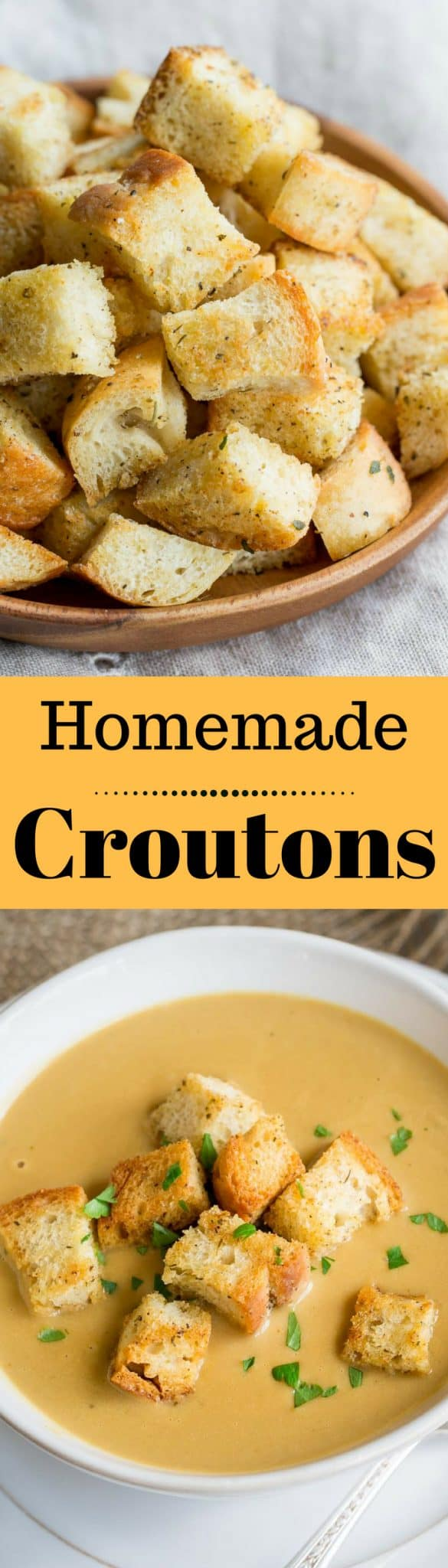 Homemade Croutons - Crispy, garlic and herb flavored Homemade Croutons ...