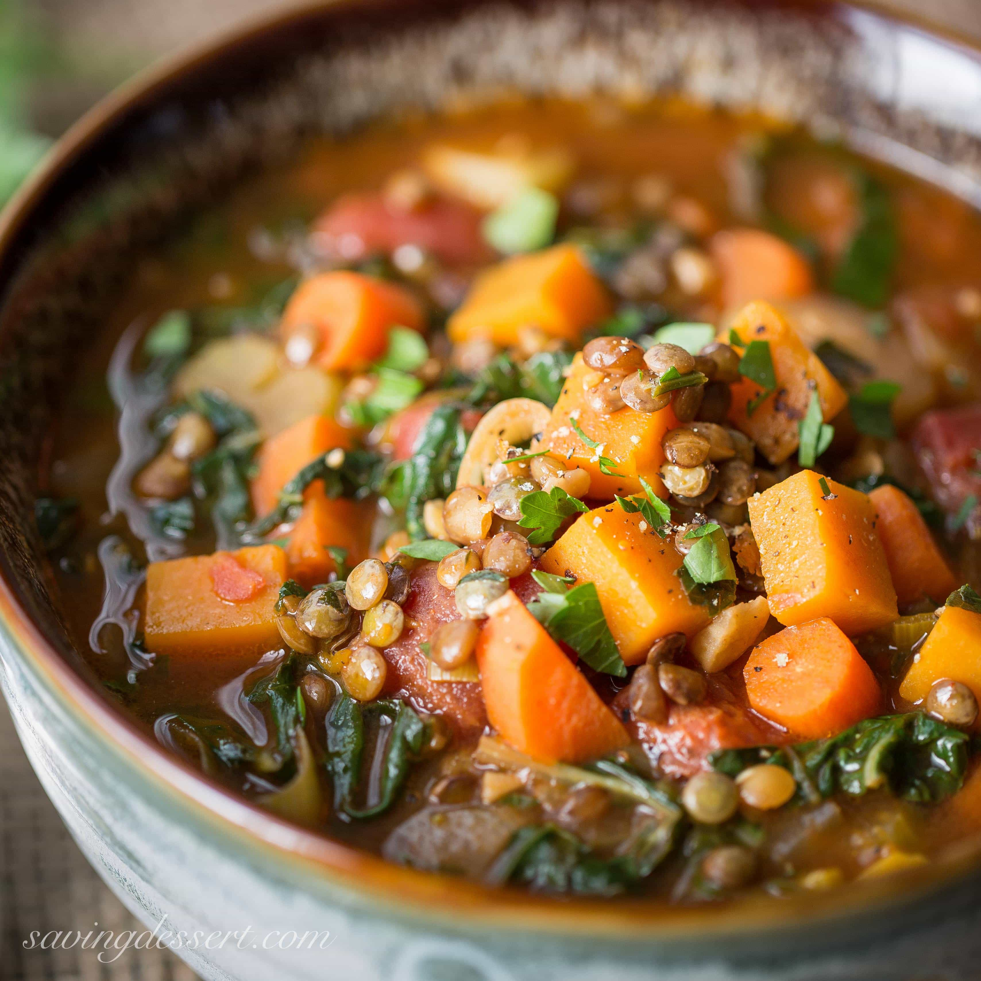 Vegetable Soup With Lentils & Seasonal Greens