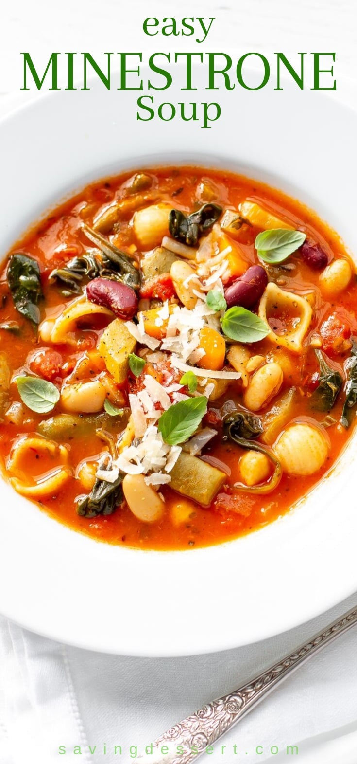 A bowl of minestrone soup with pasta and beans