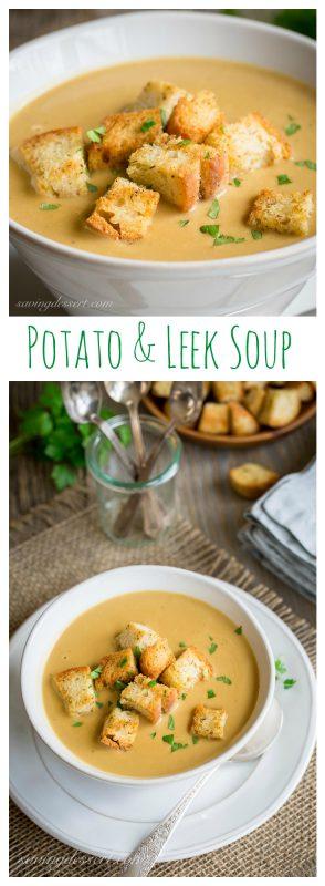 Potato & Leek Soup with Homemade Crutons