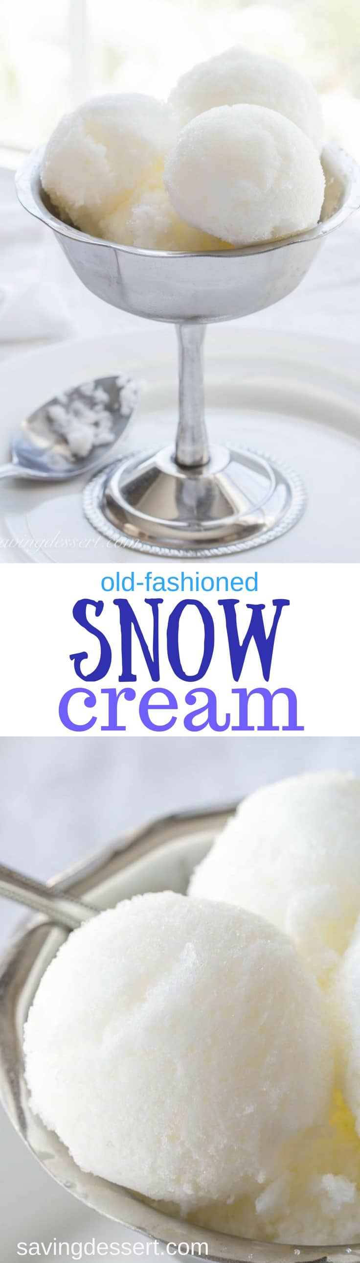 Homemade Old-Fashioned Snow Cream - A treat from days gone by, snow cream is a wonderful, easy frozen classic that falls out of the sky! www.savingdessert.com #savingroomfordessert #snowcream #snow #icecream #frozentreat