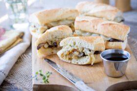 Vegetarian French Dip with Mushroom Jus