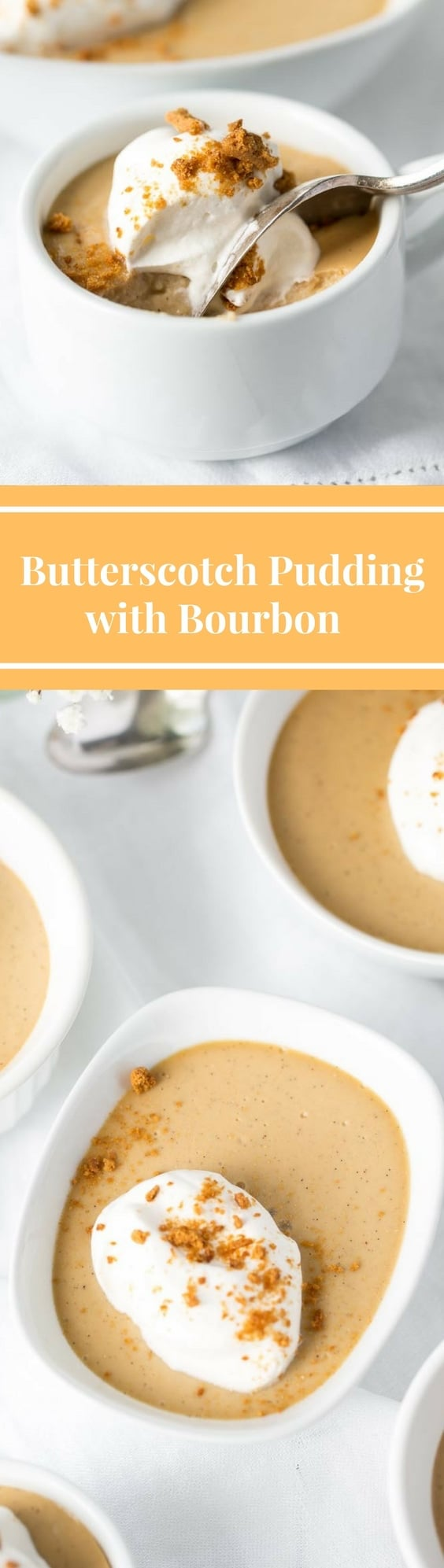 Butterscotch-Bourbon Pudding topped with crumbled ginger snap cookies | www.savingdessert.com